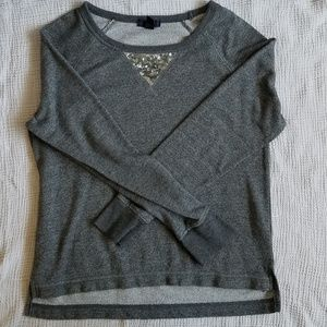 GAP Gray with Sequins Crewneck Sweater Small
